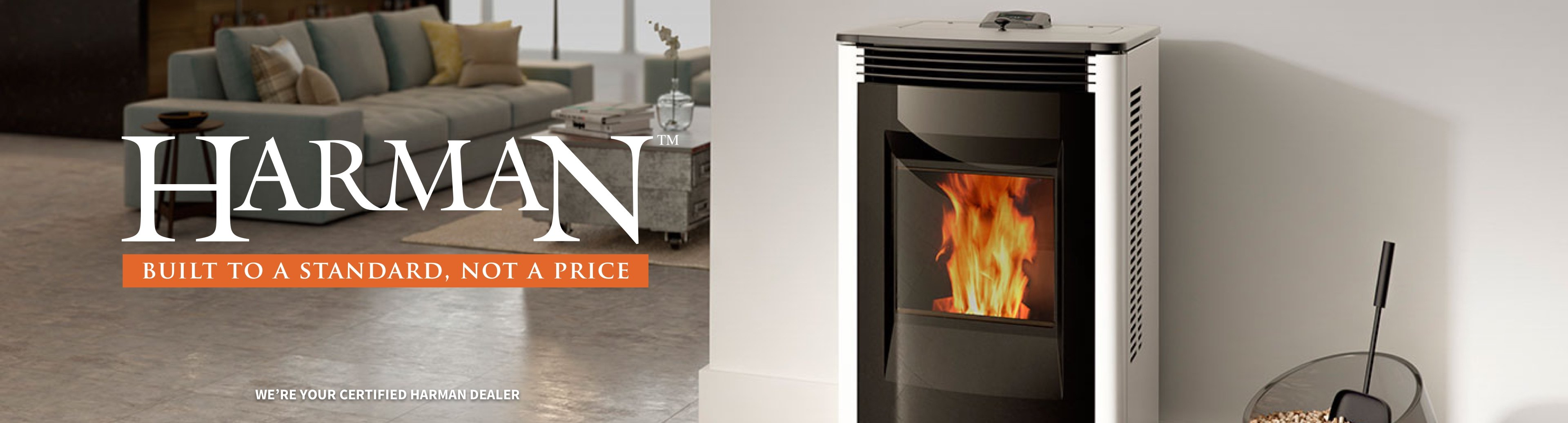 Harman pellet stove fireplace in home with logo