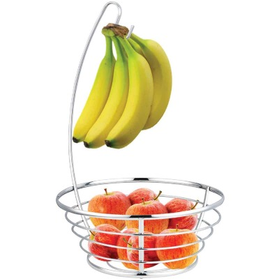 Home Basics Chrome Plated Steel Fruit Basket with Banana Tree