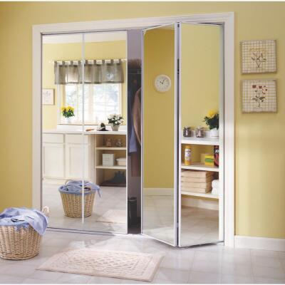 Erias Series 4400 24 In. W. x 80-1/2 In. H. Steel Frame Mirrored White Bifold Door