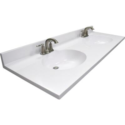 Modular Vanity Tops 61 In. W x 22 In. D Solid White Cultured Marble Vanity Top with Double Oval Bowl