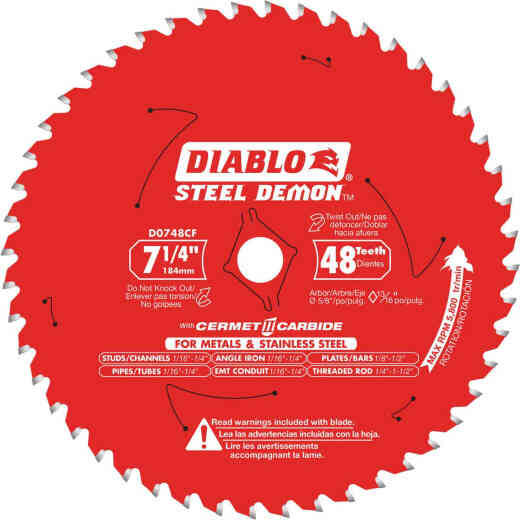 Diablo Steel Demon 7-1/4 In. 48-Tooth Cermet II Carbide Metals & Stainless Steel Circular Saw Blade