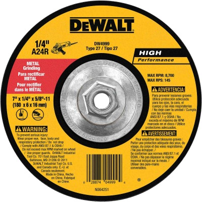 DeWalt HP Type 27 7 In. x 1/4 In. x 5/8 In.-11 Metal Grinding Cut-Off Wheel
