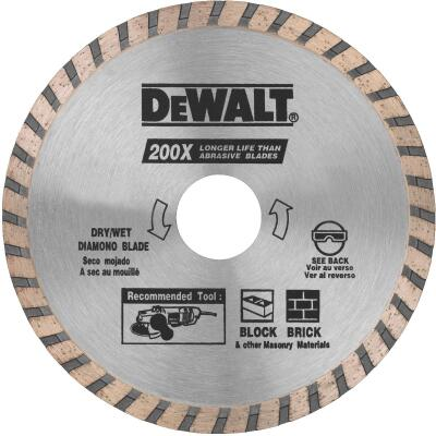 DeWalt High Performance 4-1/2 In. Turbo Rim Dry/Wet Cut Diamond Blade, Bulk